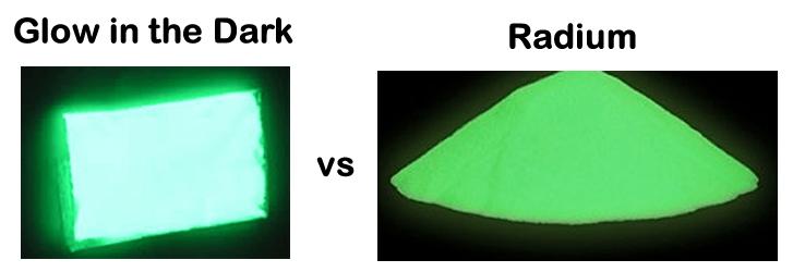 Phosphorus Glow in the Dark vs Radium Glow in the Dark